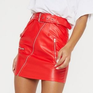 Red bieker belted mini skirt